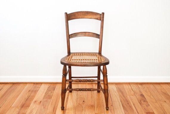 Antique Wicker Chair, Antique Caned Chair, Cane Chair, Wood Chair, Walnut  Chair