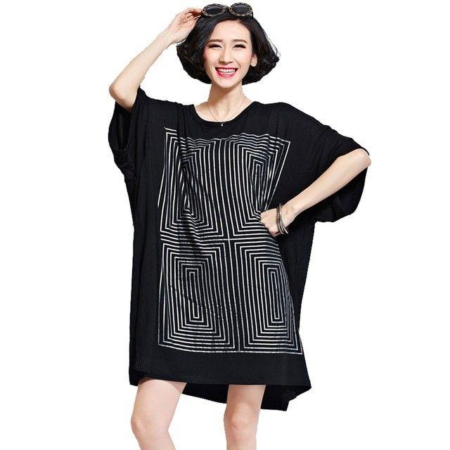 4ef828e8e4e Oladivi Oversized Shirt Dresses Women Fashion Print Long T-Shirt Plus Size  Ladies Tops Tees