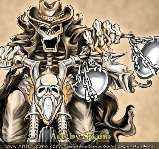 Skeleton Cowboy Biker by Spano #artbyspano #art, #drawing, #western, #cowboy, #skeleton, #biker, #motorcycle