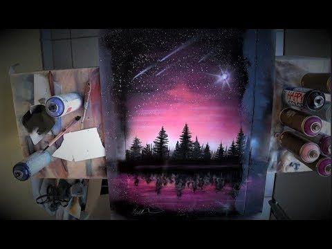 Billions stars on the PINK sky -  SPRAY PAINT ART by Skech #spraypainting