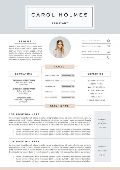 5 page Resume Template and Cover Letter + References Template for ...