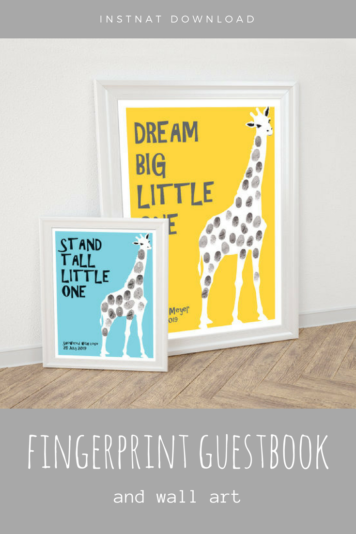 Love this giraffe fingerprint guest book printable - perfect for a ...