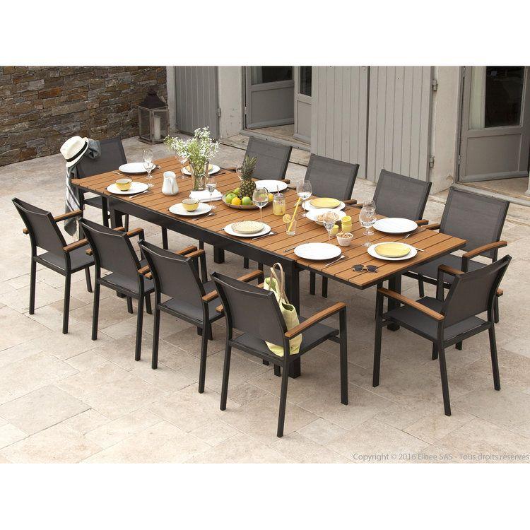 Table De Jardin Composite #15: Salon De Jardin Aluminium Gris Et Composite Bois : 1 Table Extensible  180/280cm +