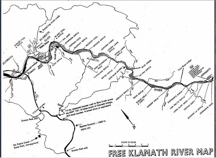 2017 klamath river map and fishing report and local for Shaver lake fishing report