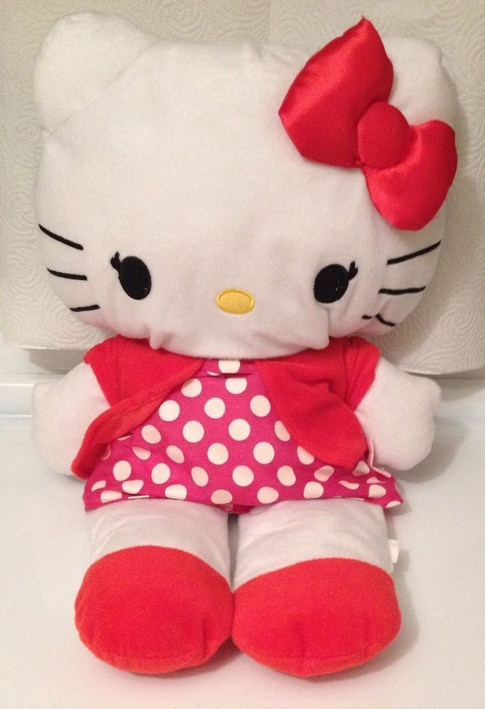 Hello Kitty Dots Plush Backpack NEW for Kids Girls Sanrio Pink White