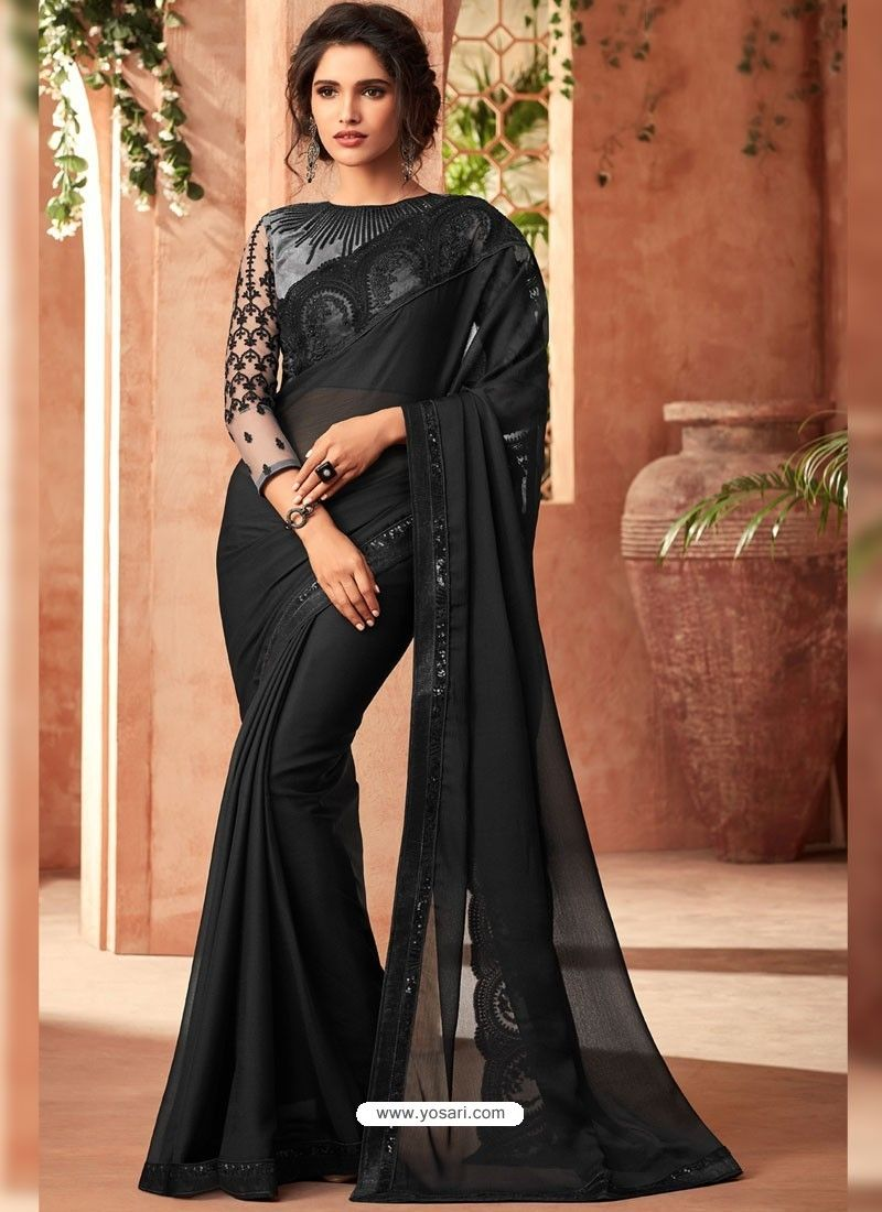 af5e6e9fbb Black Korian Silk Chiffon Embroidered Designer Party Wear Saree in ...