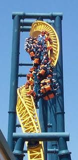 This is Vertical Velocity at Six Flags Discovery Kingdom. It is a Inverted Impulse. Manufactured by Intamin.