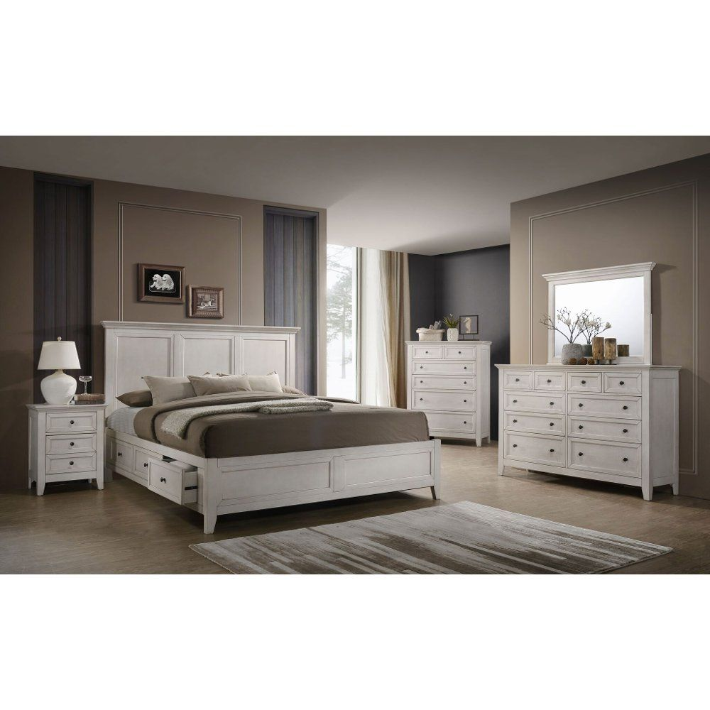Casual Classic Rustic White 4 Piece Queen Bedroom Set St Mortiz Rc Willey Furniture Store Bedroom Sets Queen Furniture King Bedroom Sets