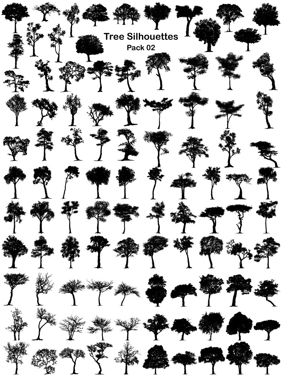 Tree Silhouettes Vector and Brush Pack02 Tree