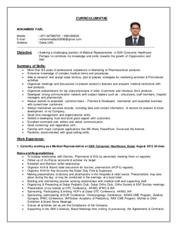 Cv for sales representative