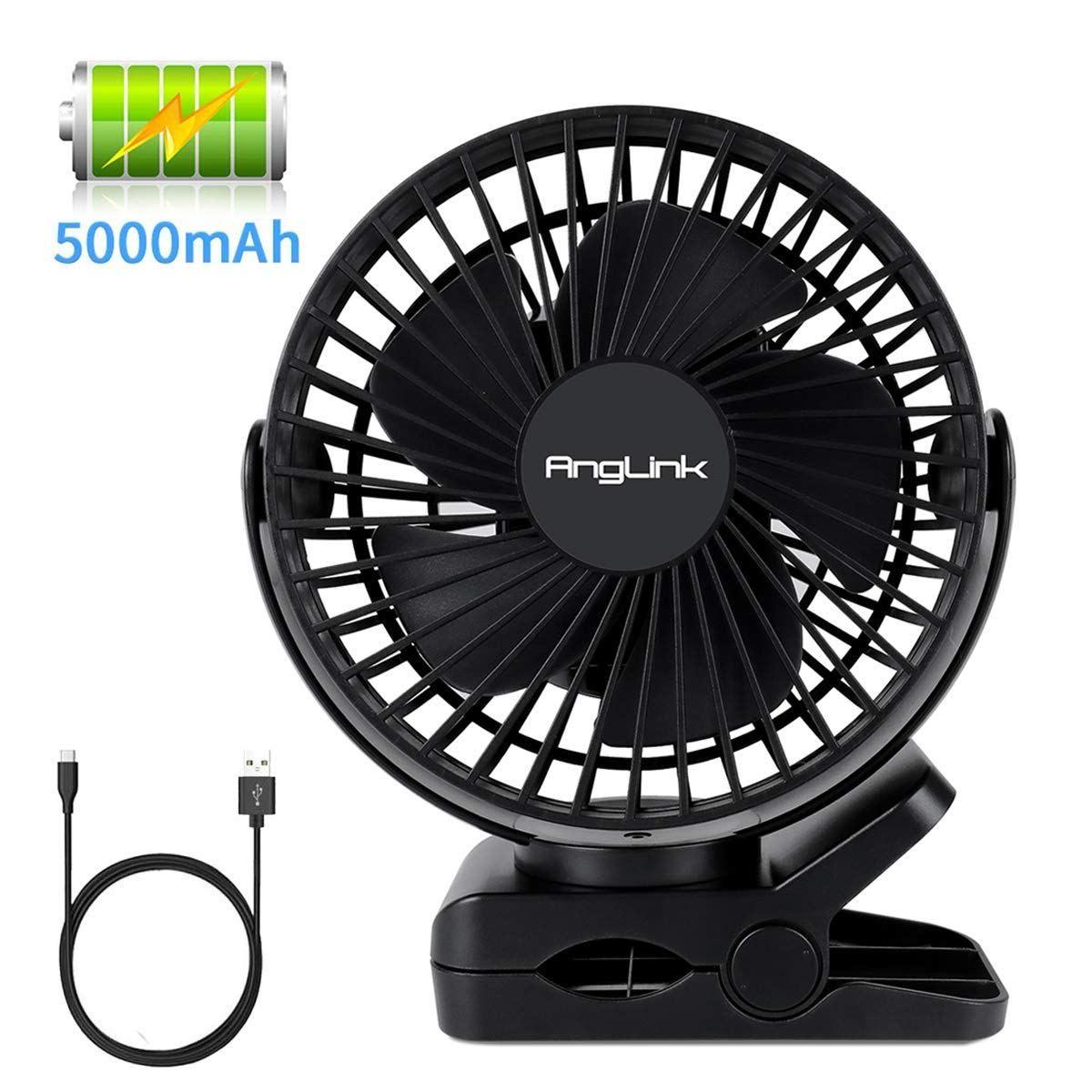 Clip On Fan 5000mah Large Battery Powered Fan Usb Rechargeable