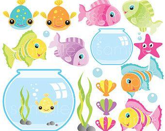 Fish Bowl Cute Digital Clipart Commercial Use Ok Fish Clipart Fish Graphics Goldfish Theme Clip Art Digital Clip Art Fish Clipart