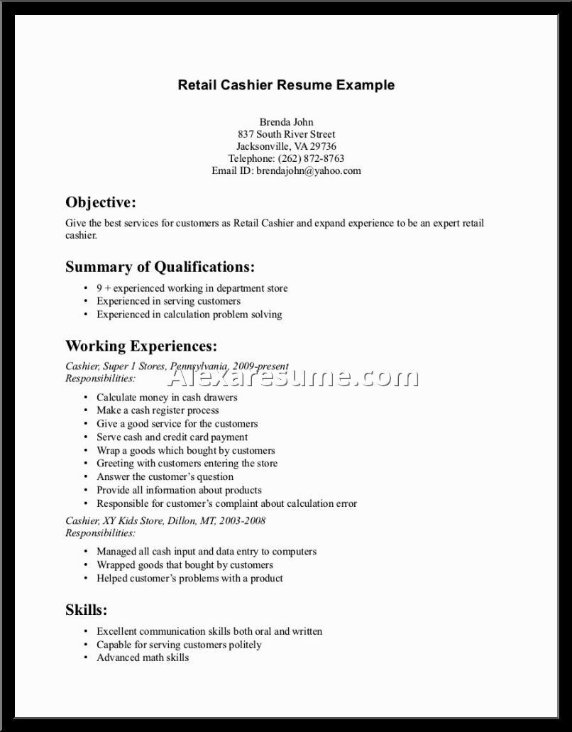 supermarket cashier resume skills put application letter
