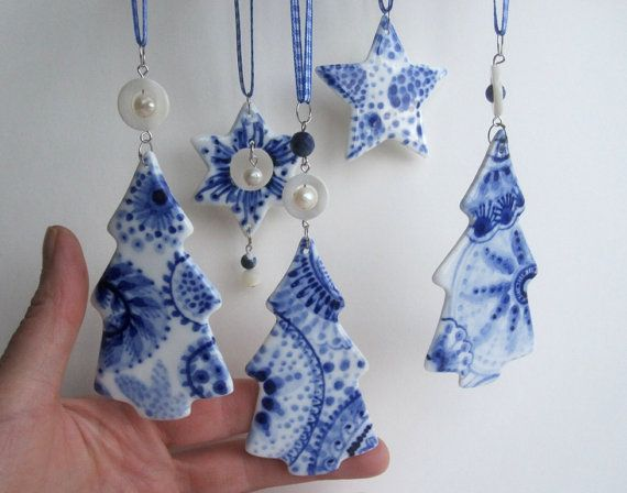 Blue Delft Christmas Tree Handpainted Porcelain Blue Christmas Ornaments Polymer Clay Ornaments Hand Painted Ornaments