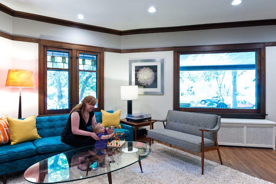 Dark Wood Trim W White Walls Mid Century Modern Living Room Design Mid Century Modern Living Room Dark Wood Trim #wood #trim #living #room