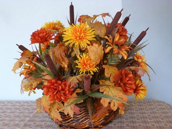 Large fall thanksgiving basket centerpiece silk flowers for Fall fake flower arrangement ideas