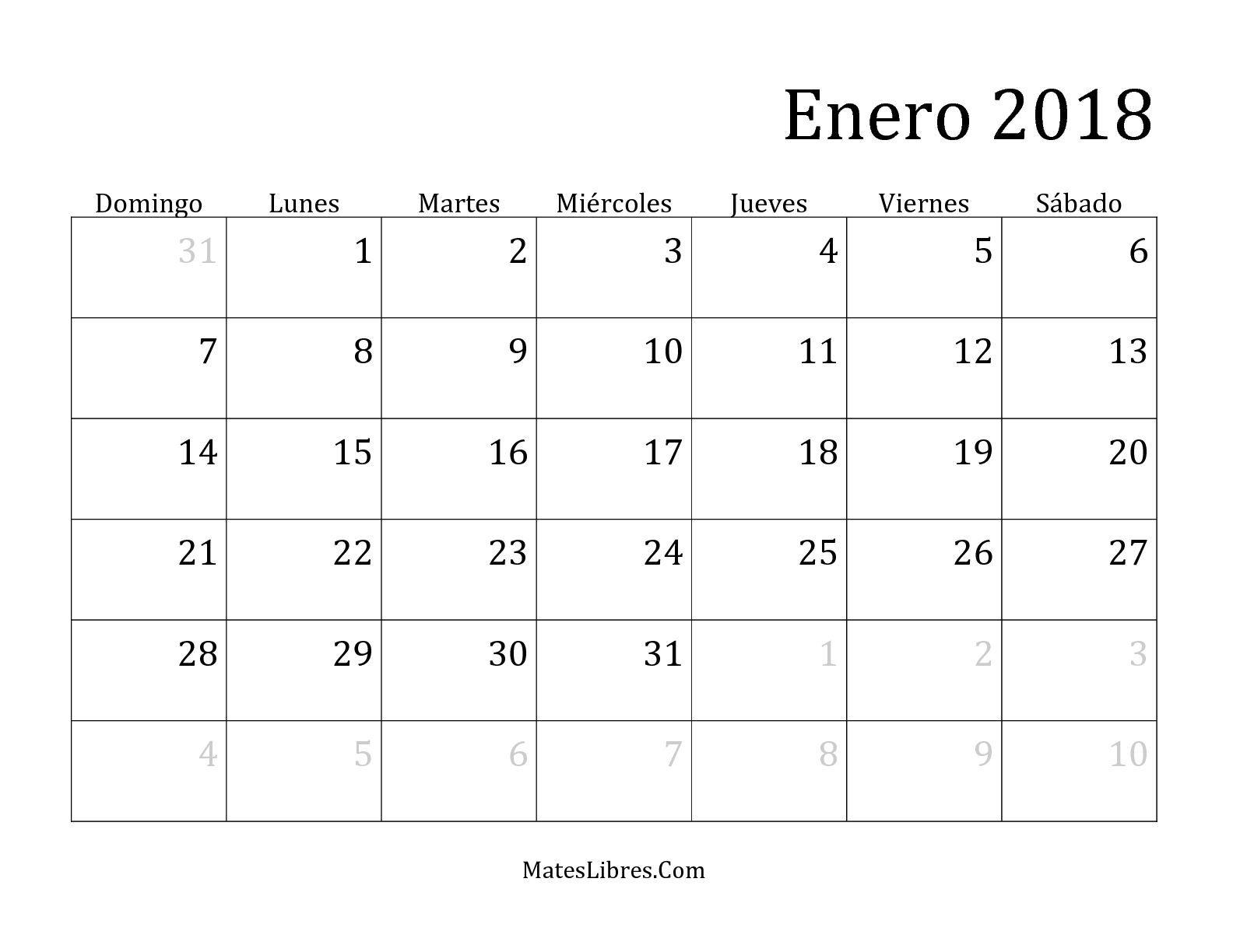 Resultado de imagen de calendarios 2018 para imprimir for Almanaque de pared 2018