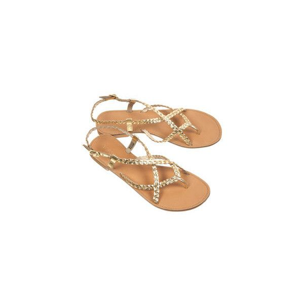 Harley Plaited Gold Sandals 34 Liked On Polyvore Sapatos Look Looks
