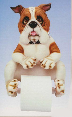 Resin Spike Georgia Bull Dog English Bulldog Home Bathroom Bath Room Decor Toilet  Paper Holder 13in