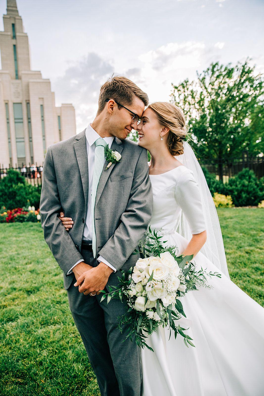 Lds wedding inspo modest dress young couple oquirrh