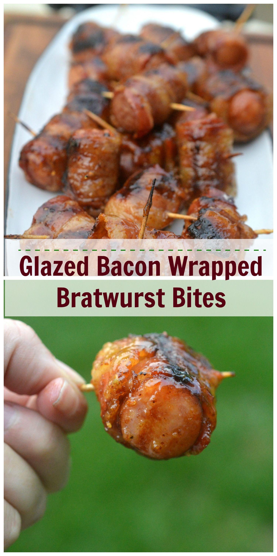 Glazed bacon wrapped sausage bites bacon wrapped