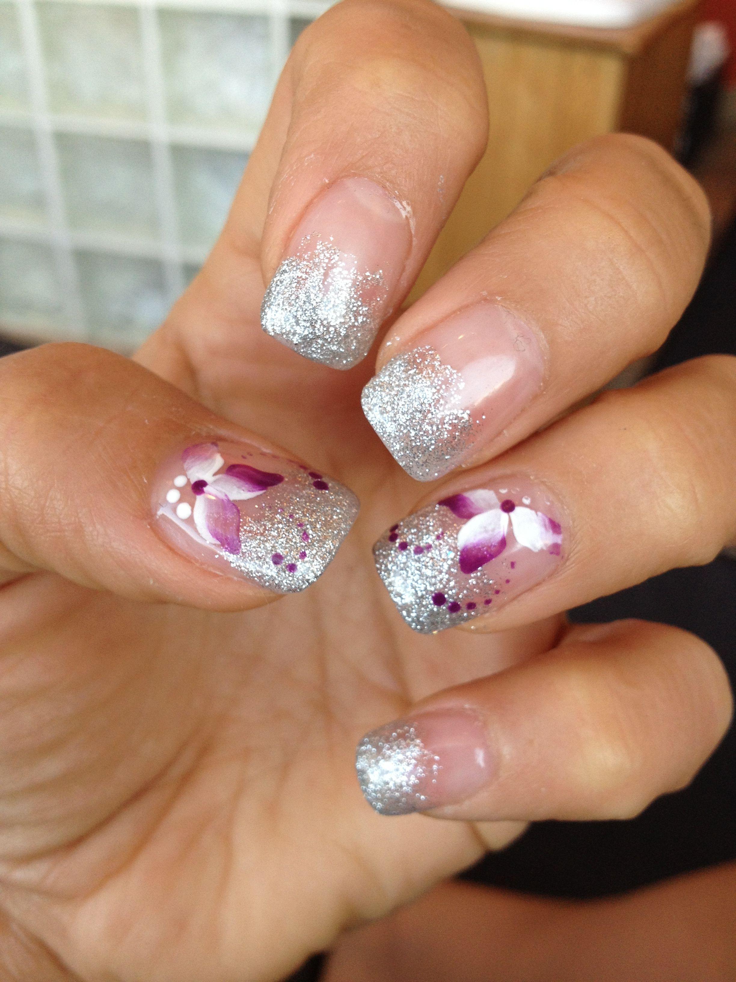 Pretty Silver And Purple Wedding Nails Wedding Nails Purple