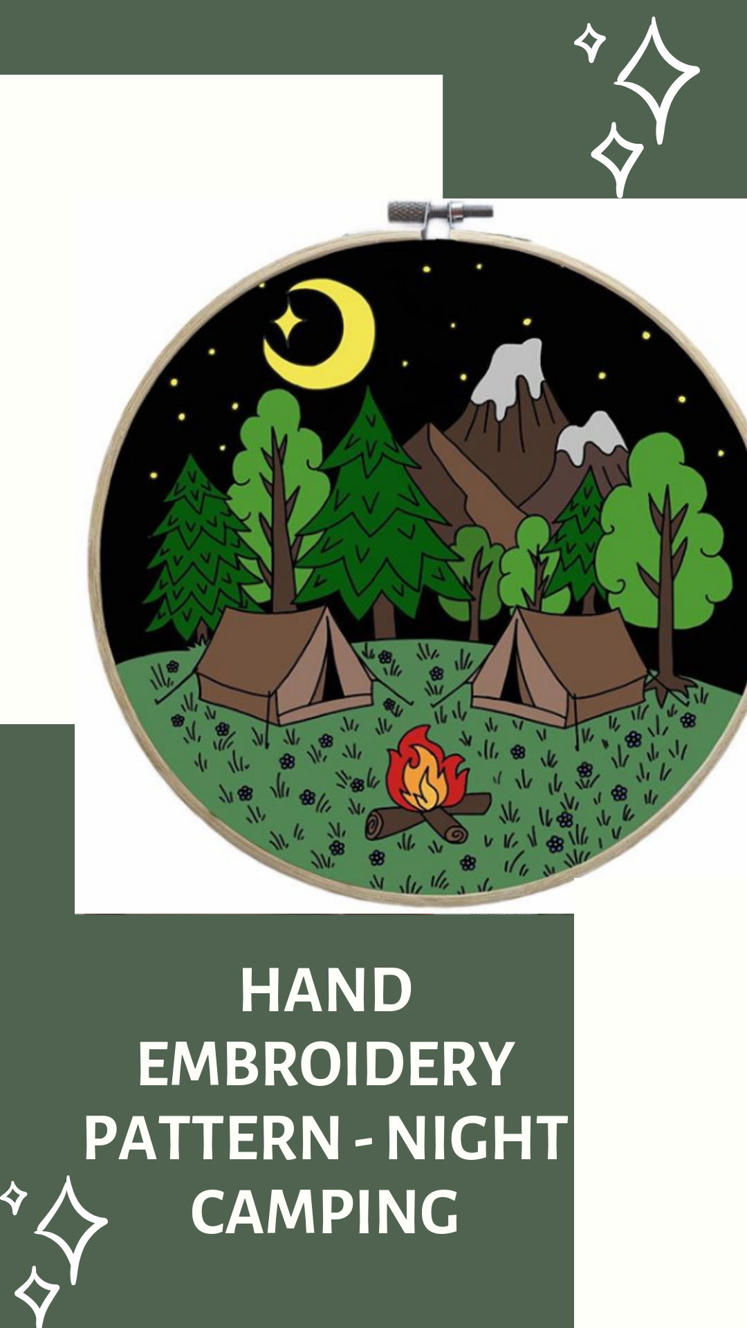 Night Camping Hand Embroidery Pattern Digital Download Pdf