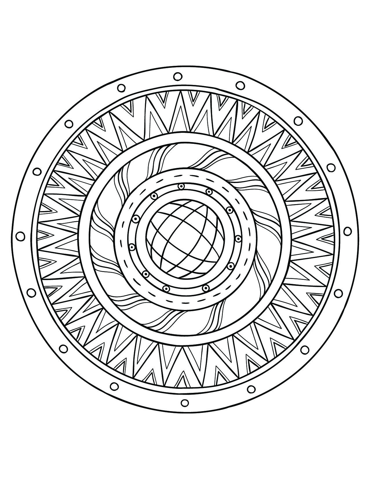 sun window mandala free coloring pages printable