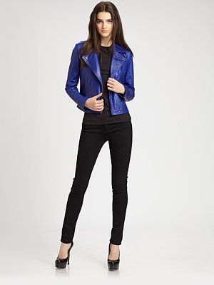 eb9e3f0fba Theory - Elenian Leather Jacket - Can't get any better than a Dodger Blue  leather jacket ;)