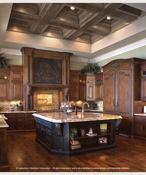 Medium Wood Kitchens: Recessed Frig, Dark Wood Cabinetry, Medium Finish Wood