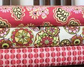 Pink Brown and Cream Floral Cotton, Fiona's Fancy By Lila Tueller for Riley Blake, 1 Yard Bundle, 3 Prints, 3 Yards Total