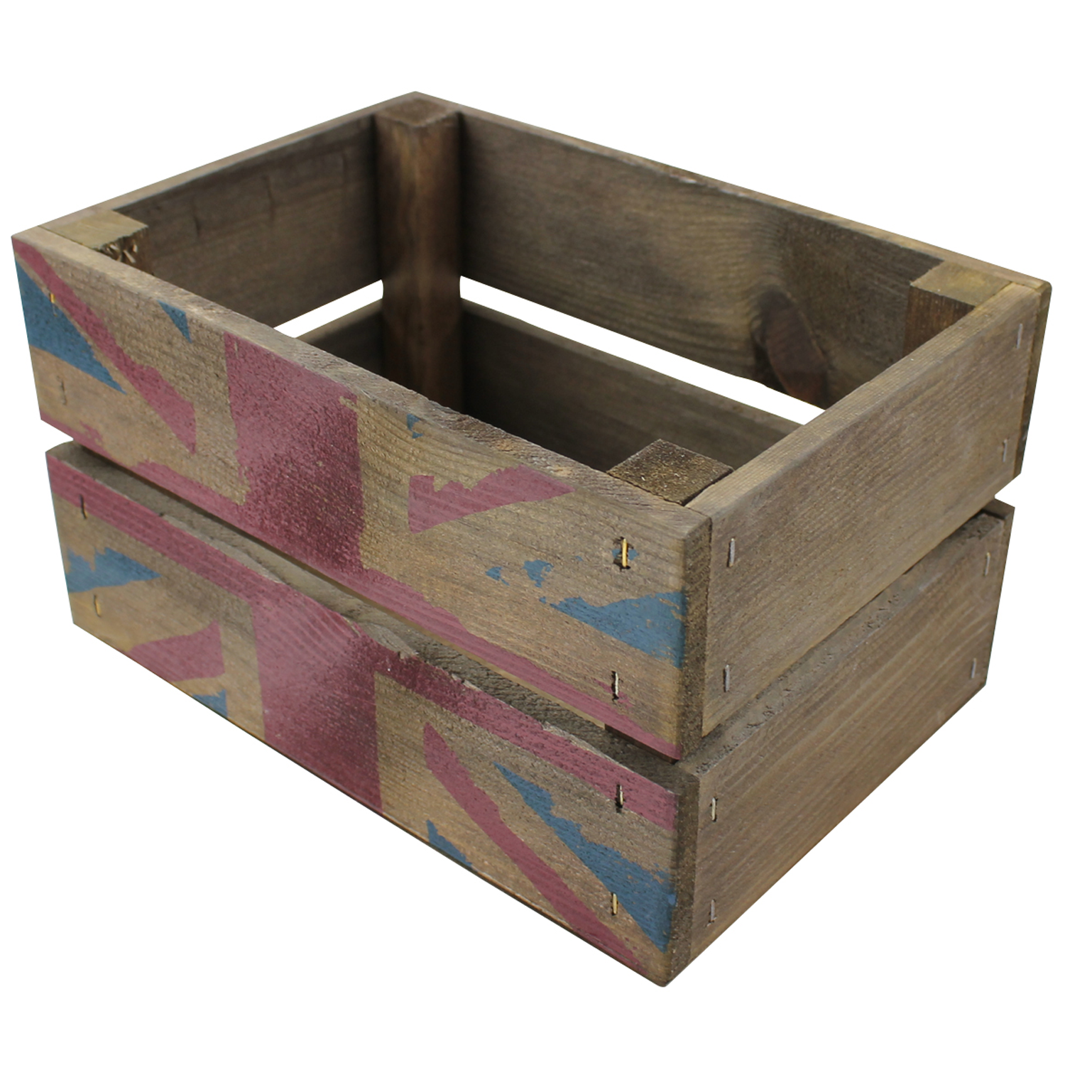 Our Mini Union Jack Rustic Crate Made And Printed By Our Sister Company Woodenboxuk Wooden Wine Boxes Wooden Crates Crates