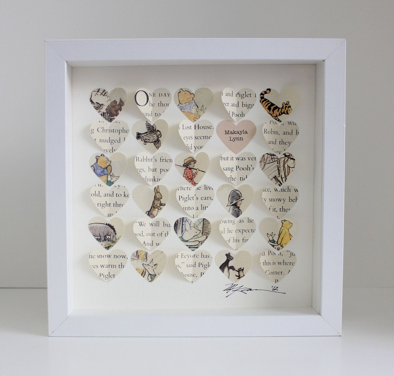 Baby gift winnie the pooh baby shower gift by celadonhome on etsy baby gift winnie the pooh baby shower gift personalized nursery art framed hearts personalized baptism gift or christening gift solutioingenieria Images