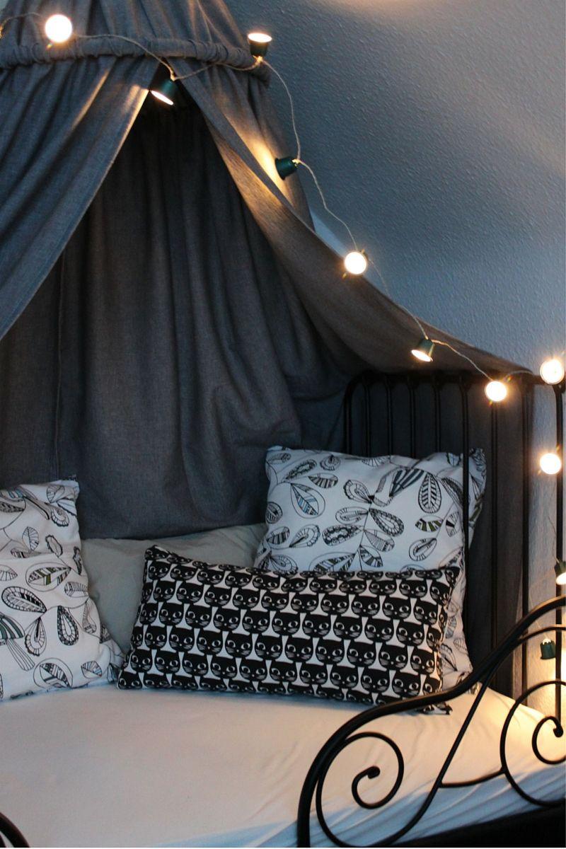 Kinderzimmer DIY Baldachin Zelt Hölle Himmelbett Lichterkette  Nespressokapseln Ikea Hack