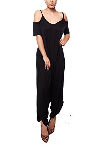 3f175c704ef1 GENx Womens Cold Shoulder Strap Cap Sleeves Loose Fit Baggy Jumpsuit MP-1001