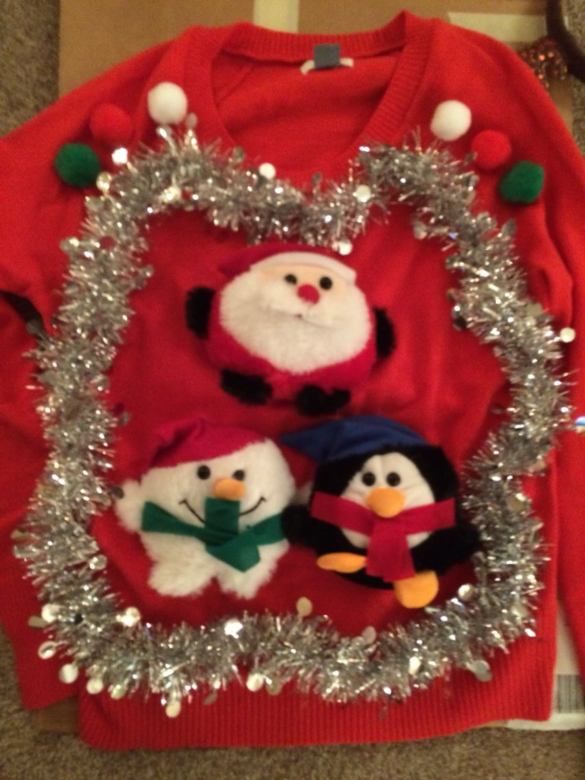 DIY Ugly Christmas Sweater- Cheap sweater from old navy and dollar ...