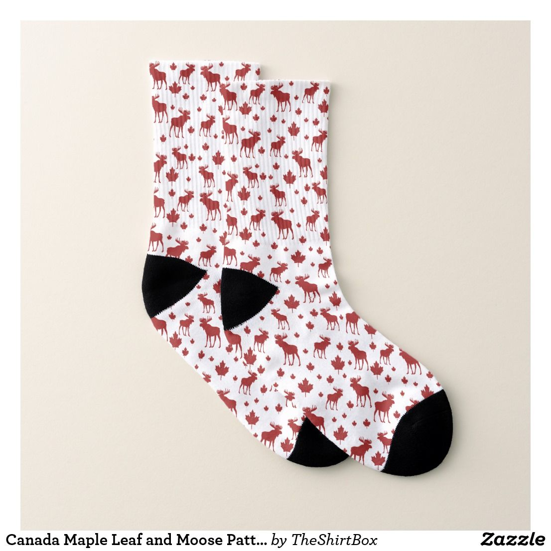 Canada Maple Leaf and Moose Pattern Socks
