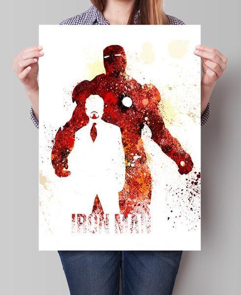 Iron Man Art Print, SuperHero Art, SuperHero Print, ironman Watercolor Print, Birthday, Nursery Gift Art Print Kids Comic Poster (38)