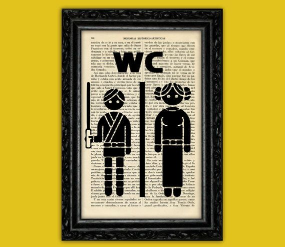 Star wars toilet sign art print wc luke leia poster book art dorm room print gift print wall - Decor wc ...