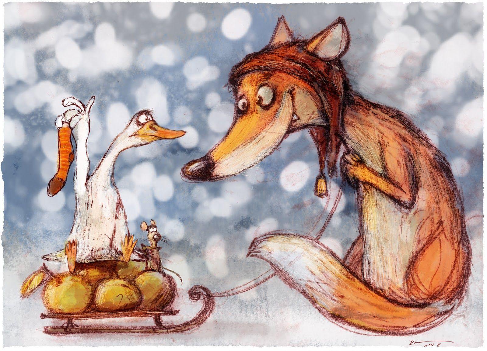 Мая, прикольные рисованные картинки лисы