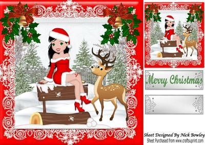 Girl posing in santa suit with little deer in the snow 8x8 on Craftsuprint - Add To Basket!