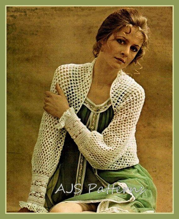 PDF Crochet Pattern for a Beautiful Retro Cuffed Shrug or Bolero Styled Jacket