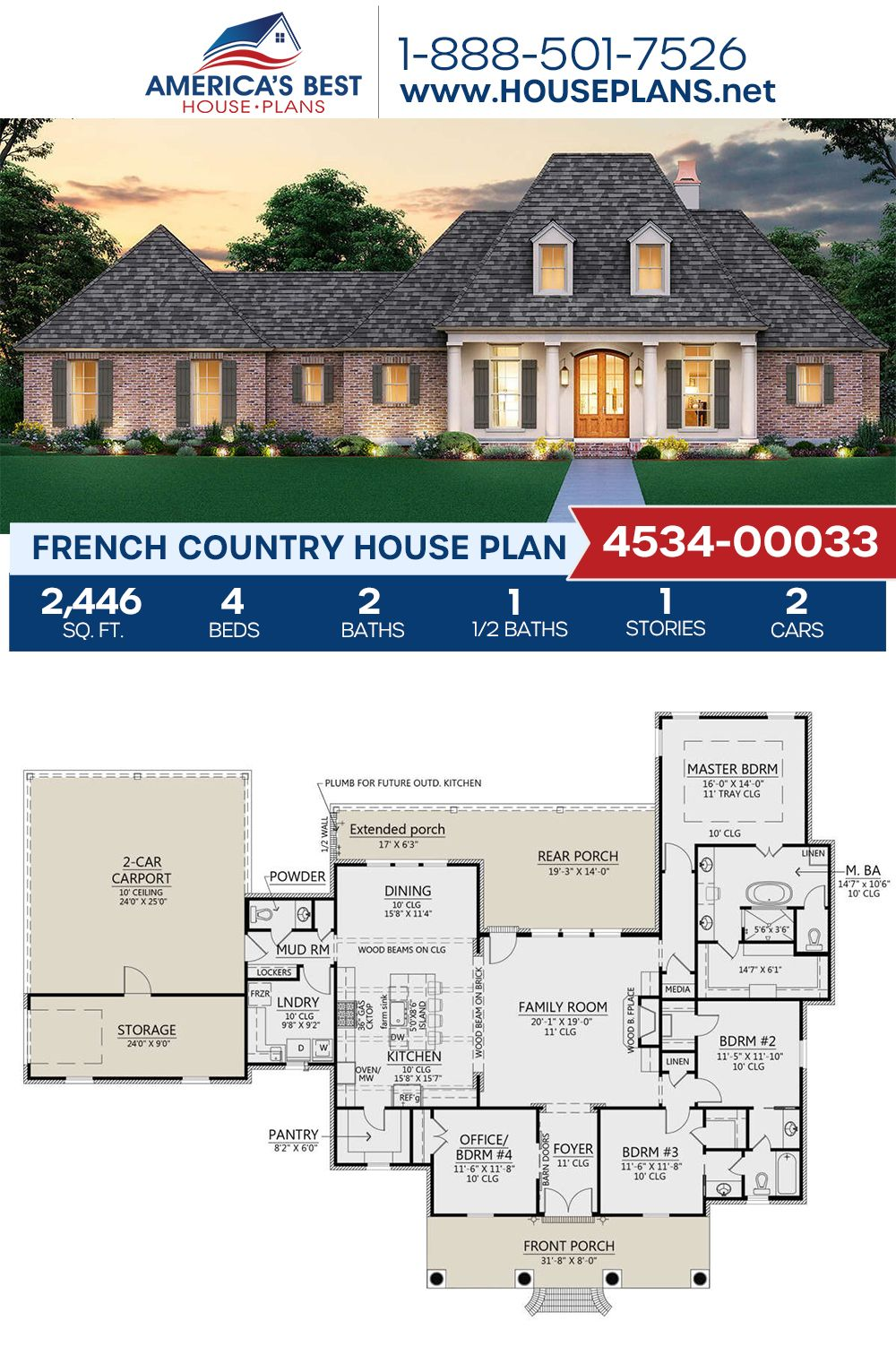 House Plan 4534 00033 French Country Plan 2 446 Square Feet 4 Bedrooms 2 5 Bathrooms In 2020 Affordable House Plans French Country House French Country House Plans
