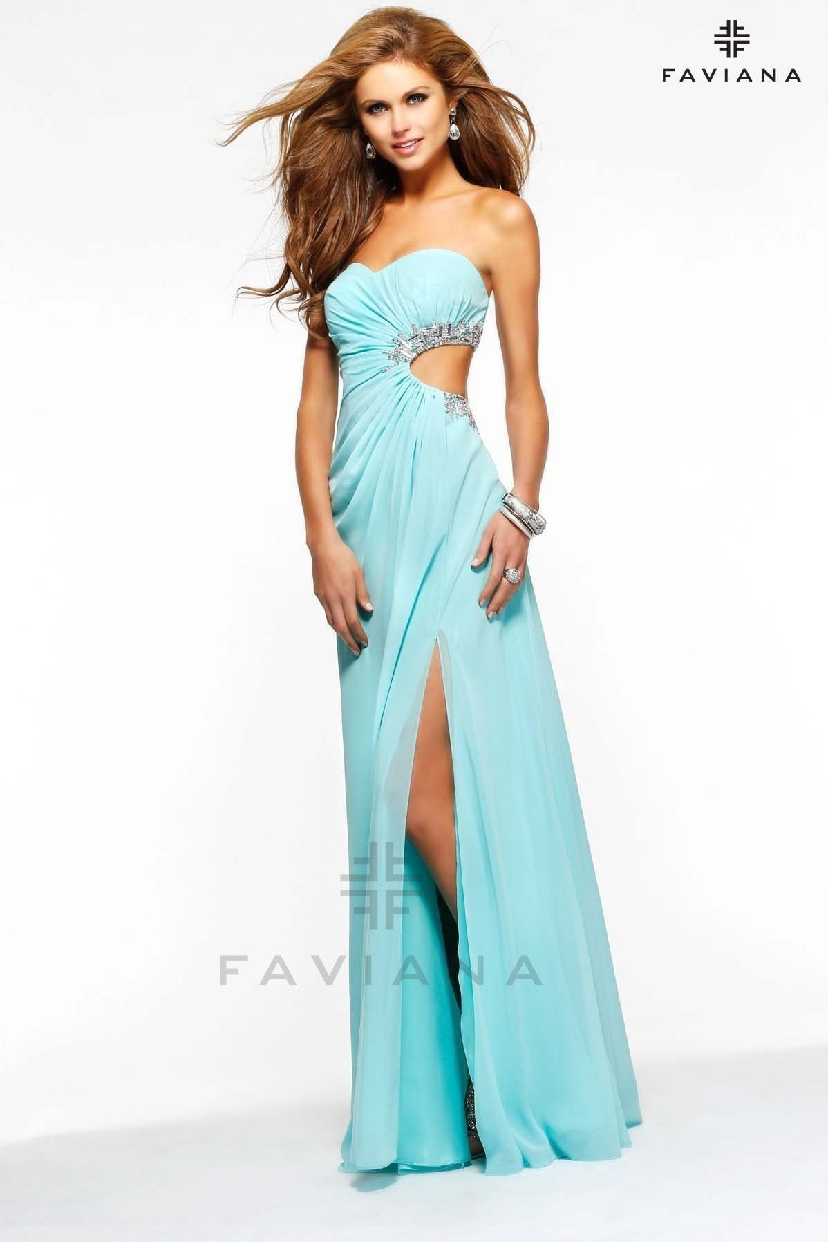 chiffon seafom faviana gown products pinterest prom