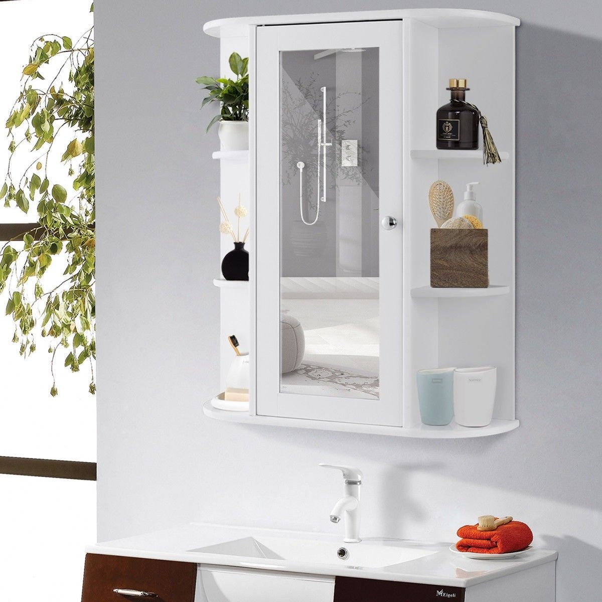 Bathroom Cabinet Single Door Shelves Wall Mount Cabinet Wall Mounted Cabinet Bathroom Space Saver Wall Mounted Bathroom Cabinets