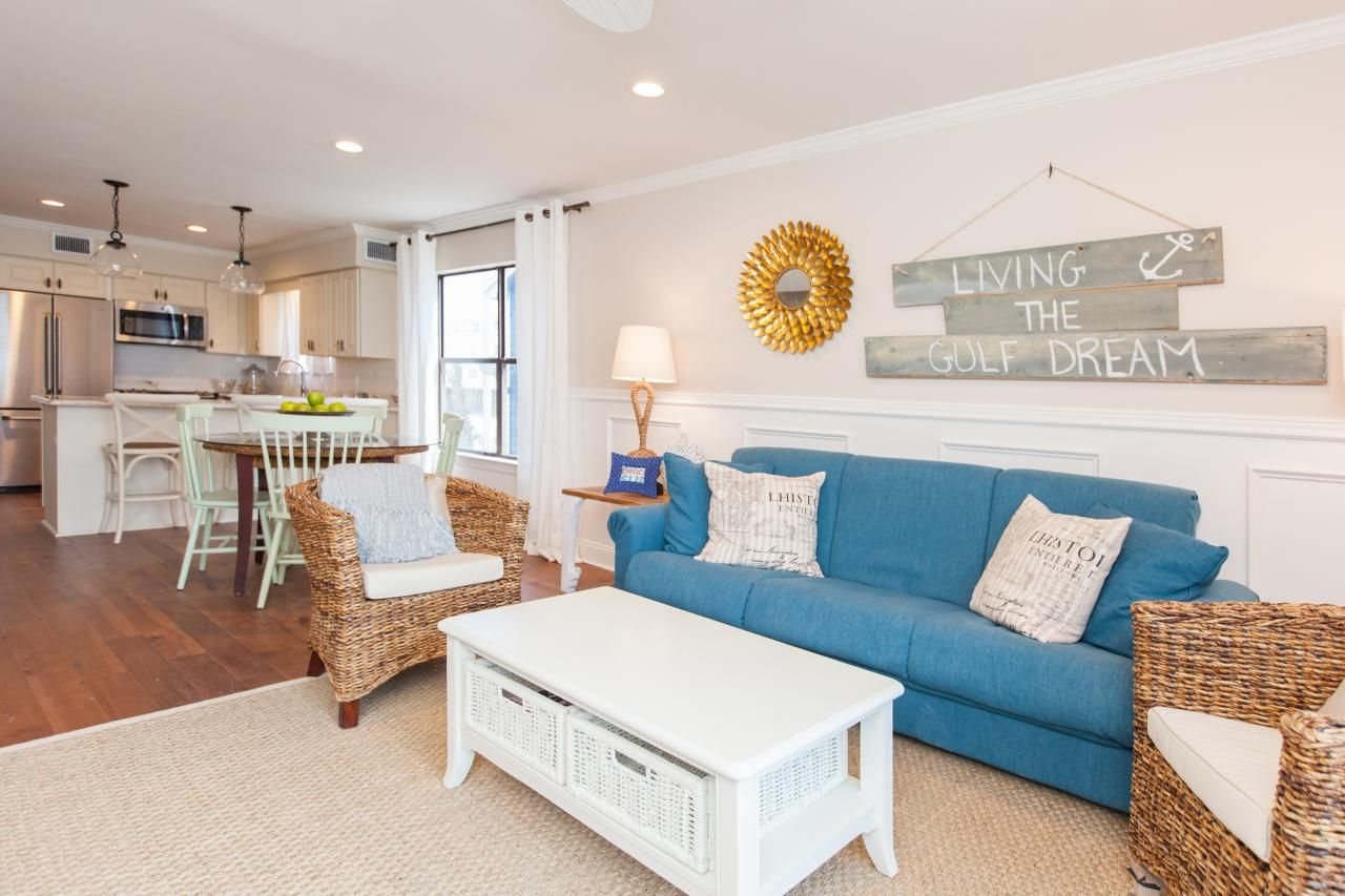 surprising beach house living room furniture   A Traditional Beach House With Nautical Details   Living ...