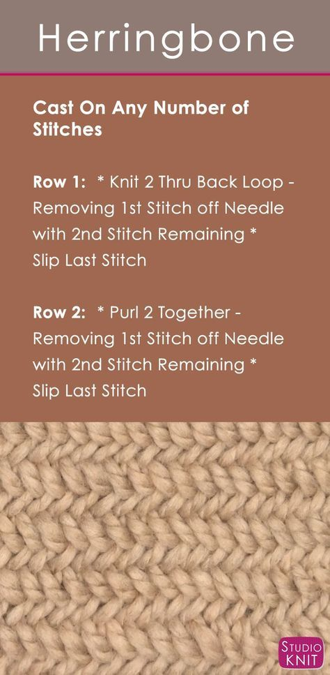 How to Knit the Herringbone Stitch with | Patrones