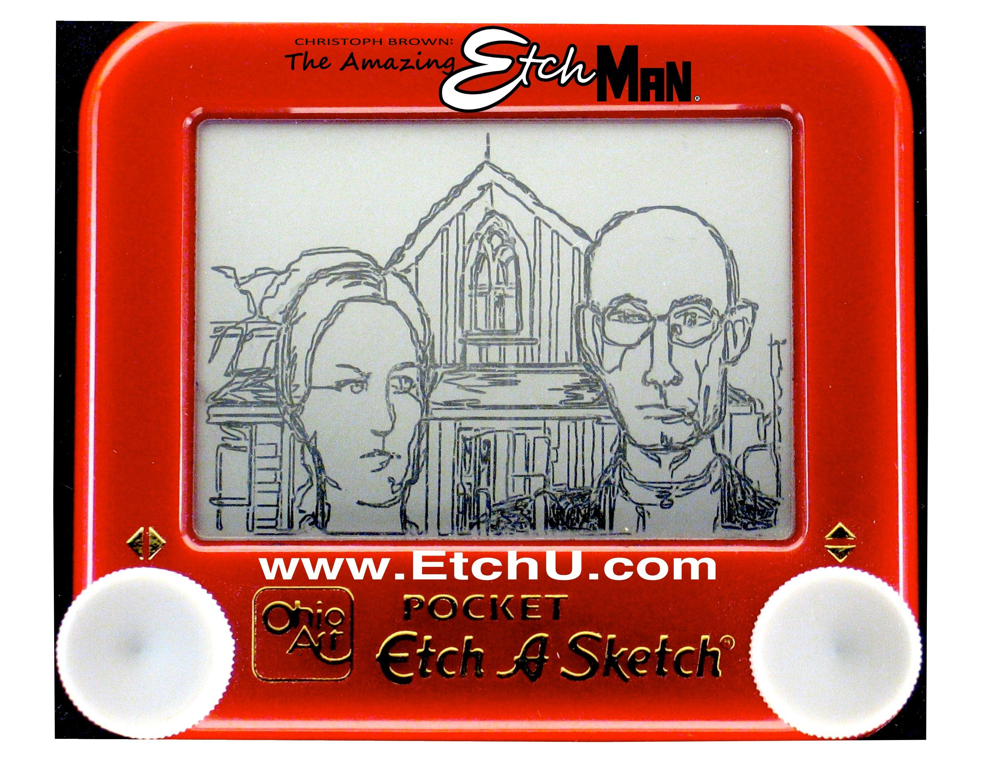 Classic art in etch a sketch american gothic etch a