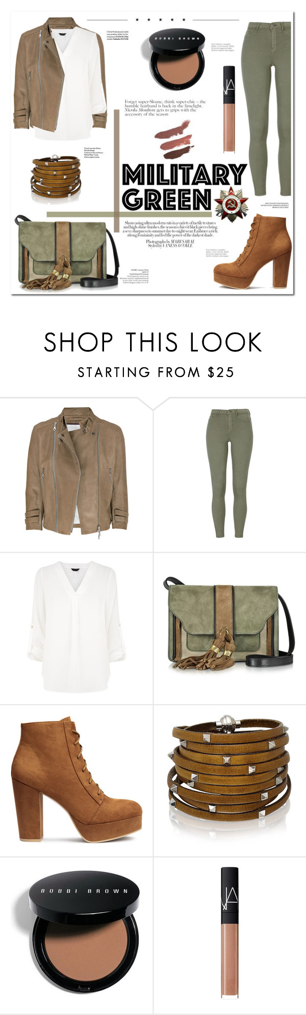 """""""▹ M G ✩"""" by f-ashioninside ❤ liked on Polyvore featuring McQ by Alexander McQueen, L'Autre Chose, Avenue, Sif Jakobs Jewellery, Bobbi Brown Cosmetics, NARS Cosmetics, military, Gogreen and militarygreen"""