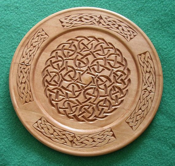 Chip carved wooden celtic knot plate pub ideas wood carving